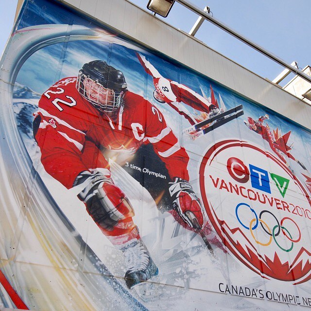 Hand painted Vancouver 2010 Canada Olympic mural. Thanks Hayley Wickenheiser for all the great moments and congrats on the amazing career!  We're ready to cheer on team Canada in the Women's World Hockey Campion ship March31-April 7. Go team Canada!! #hayleywickenheiser #alwayshandpaint #upholdingthecraft #hockeycanada #natspooner5