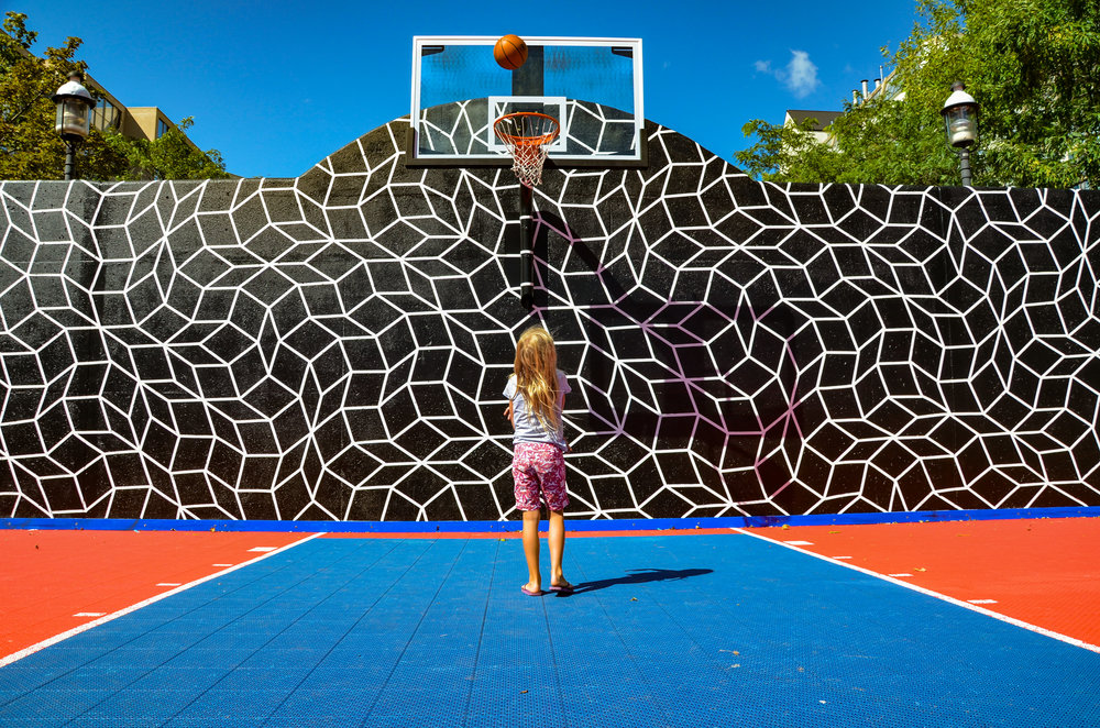 basketball court mural