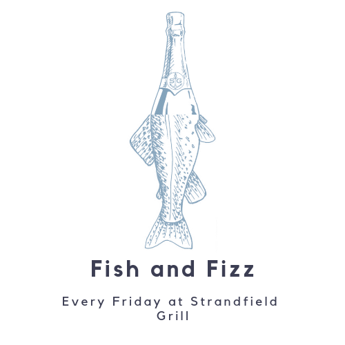 The perfect way to start the weekend 🐠🍾  Enjoy our Catch of The Day with a Glass of Fizz for just £18.50 per person.  Fish and Fizz is available at lunch (12-2pm) and Dinner (6:30-9:00pm) every Friday at the Strandfield Grill ⚓️  Full menu plus Strandfield Selection also available.  Walk-ins welcome for Lunch. Booking essential for dinner.
