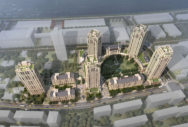 Emerald Riverside in Shanghai, China. Rendering courtesy of RAMSA