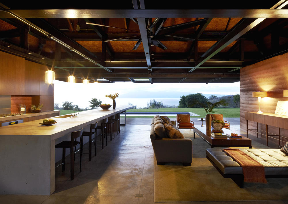 The wide open kitchen of Slaughterhouse Beach House by Olson Kundig