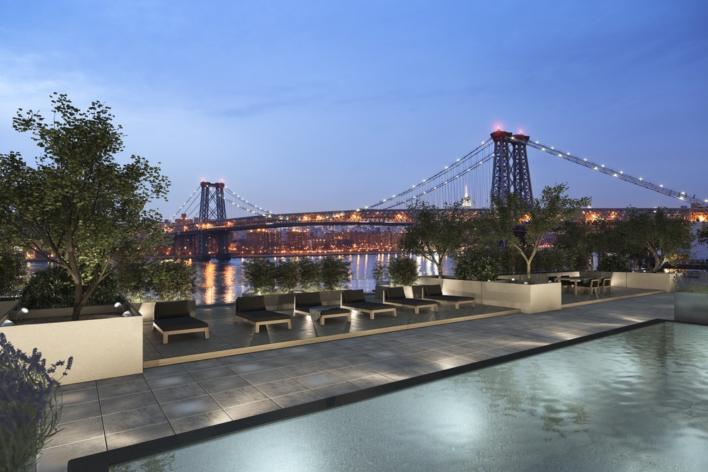 The rooftop pool and Williamsburg Bridge