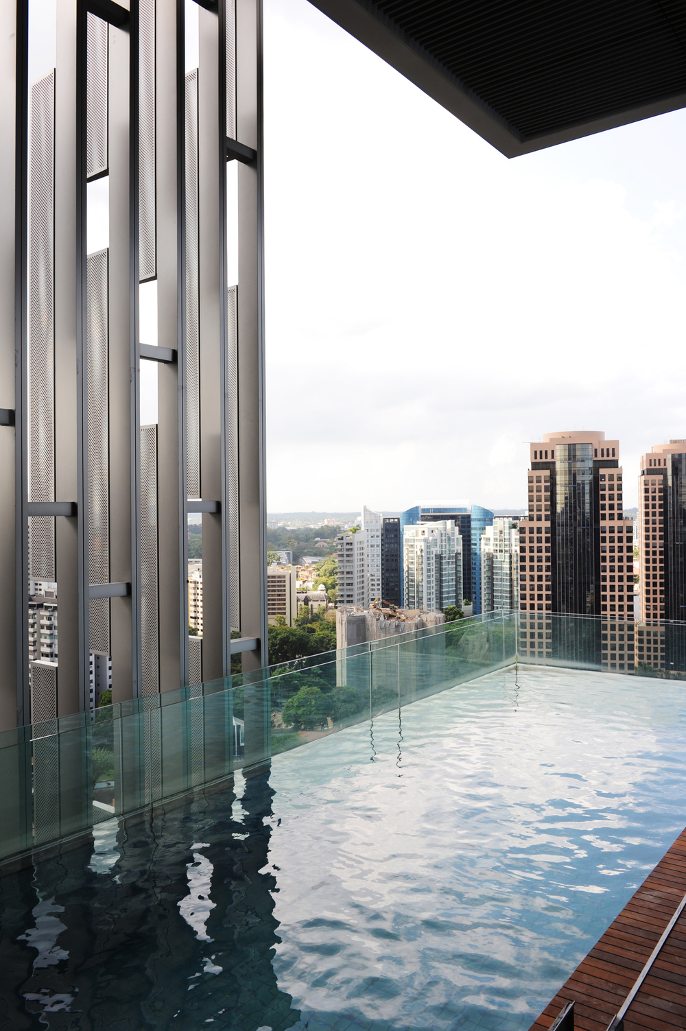 The Marq in Singapore features cantilevered 15-metre pools from the building's glass façade