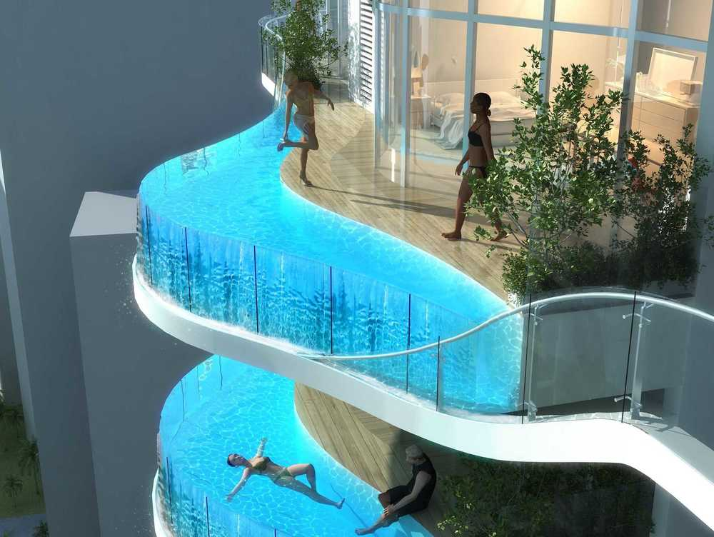 Balconies at Bandra Ohm are enclosed in acrylic, the material used in aquariums