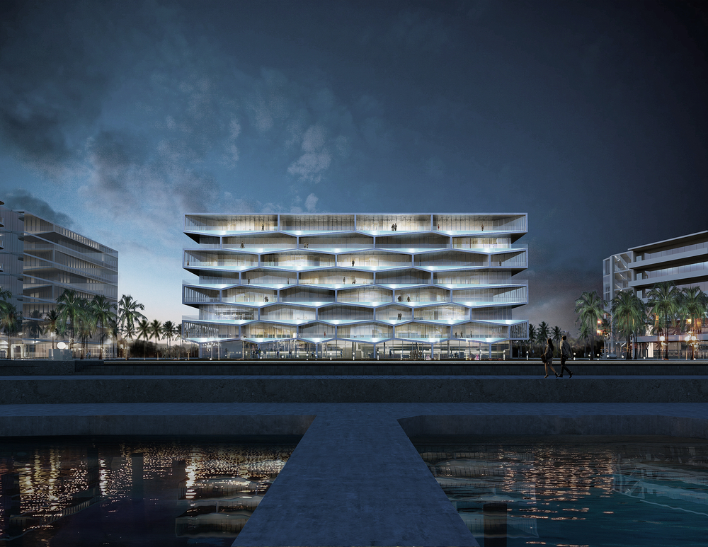 BIG-designed Honeycomb building in the Bahamas will include 34 private pools sunken into terraces