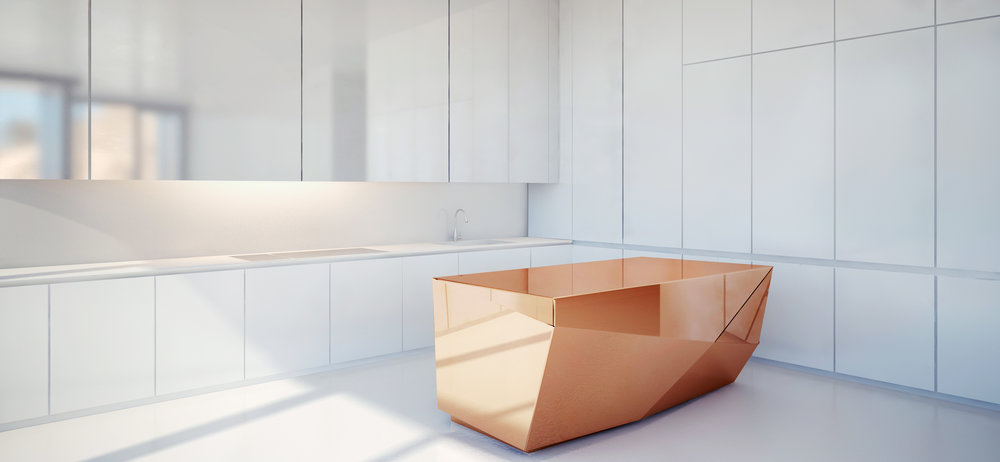 A copper kitchen island concept from Design Haus Liberty