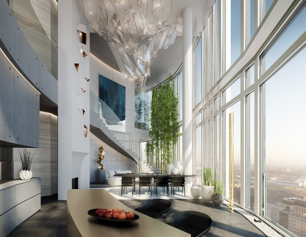 The centrepiece of the penthouse at the South Bank Tower in London is a lighting feature made with crystal sheets, by Design Haus Liberty
