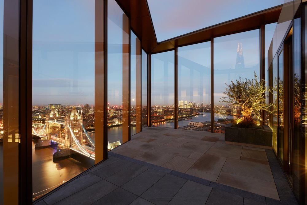 From from the terrace at One Tower Bridge triplex penthouse