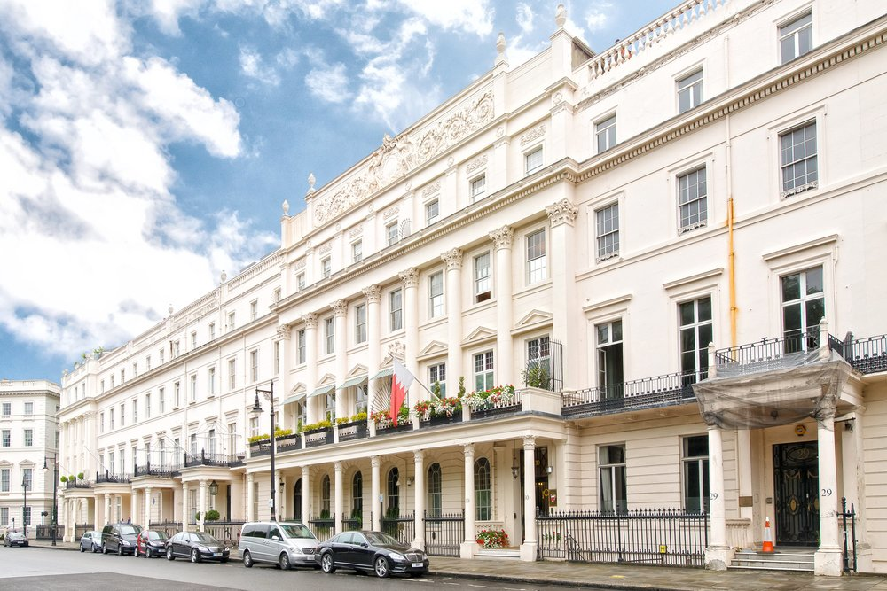 Belgrave Square in London's upscale Belgravia district