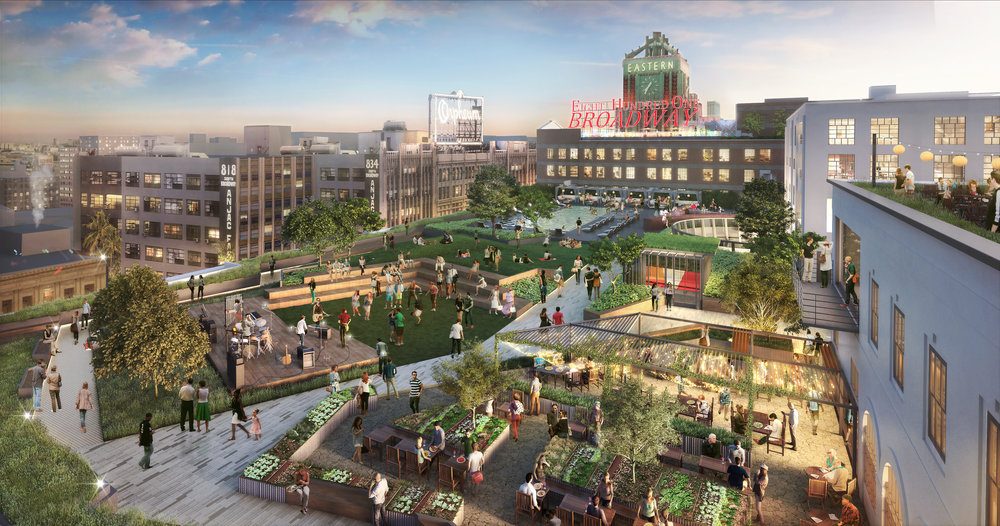 A rendering of the new Broadway Trade rooftop