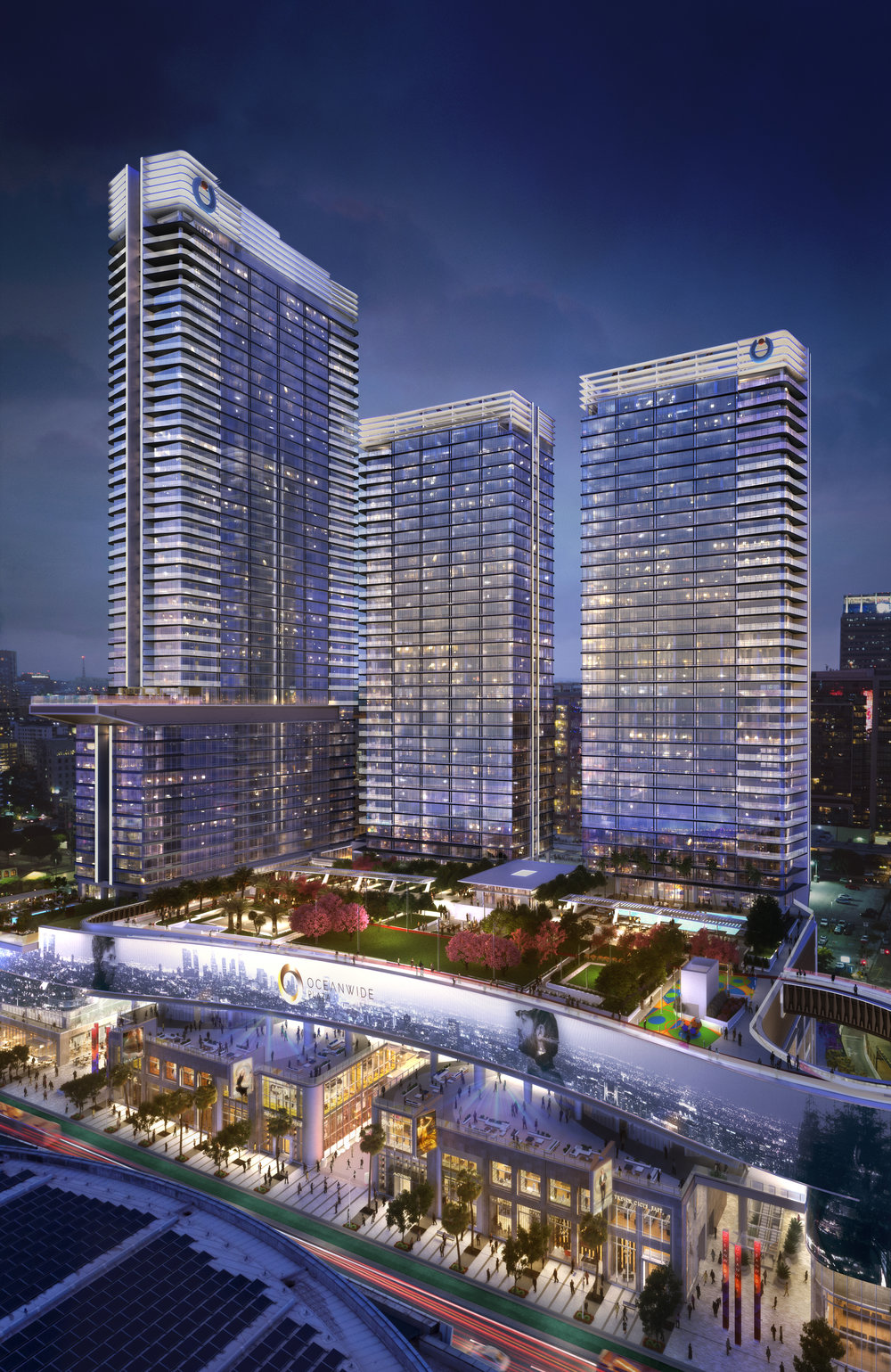 Oceanwide Plaza includes three towers and a sprawling open-air amenity deck