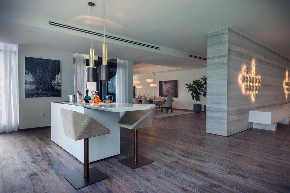 Henge designed this sprawling apartment at Palazzo Del Sol on Fisher Island
