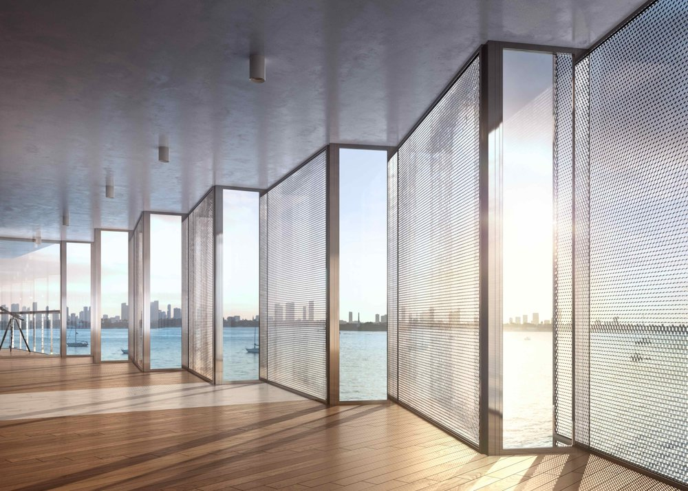 Jean Nouvel's design innovations at Monad Terrace include a honeycomb screen for added privacy and a zig-zag profile for continued views of the Bay