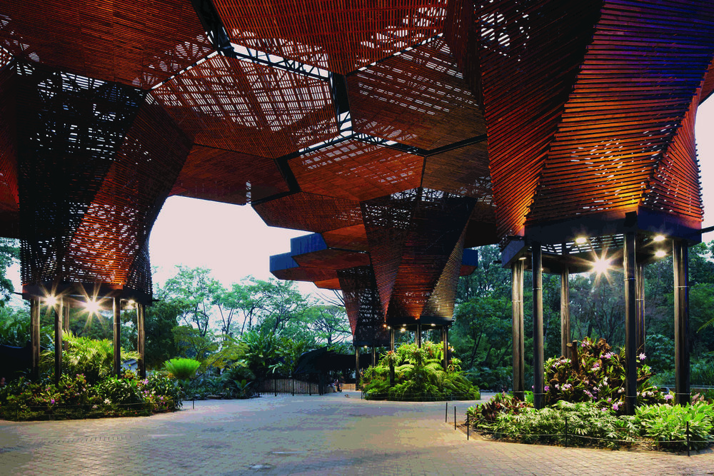 The Orquideorama by Plan B Arquitectos serves as a public plaza at the Medellin Botanical Gardens. Photo by Cristobal Palma