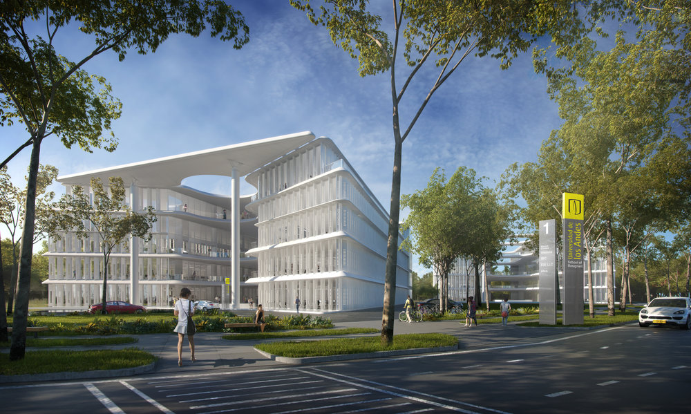 Architect Brandon Haw designed a business school for the University of the Andes, also located within Serena del Mar