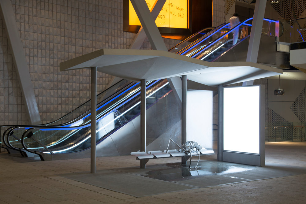 Bus Stop, a sculptural installation by Urs Fischer was unveiled at Paradise Plaza in Miami's Design District. Photo by Robin Hill