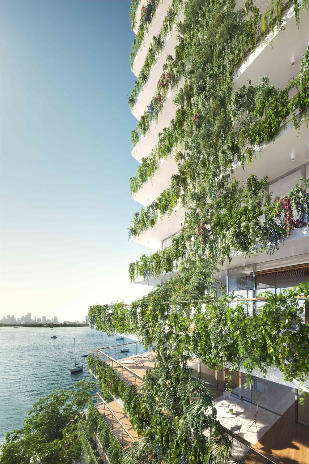 Hanging gardens at Monad Terrace, a new tower on Biscayne Bay designed by Jean Nouvel