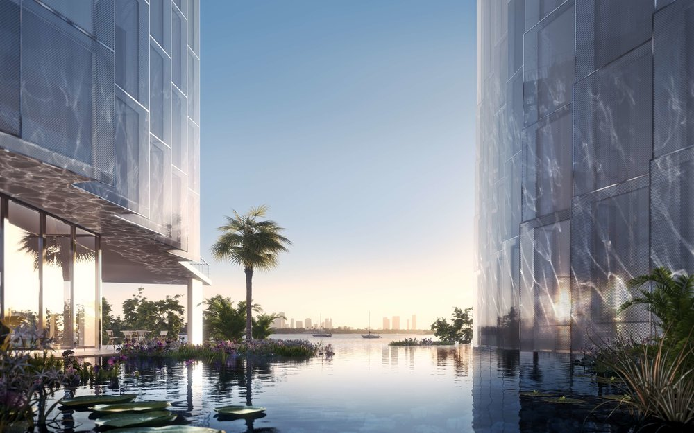 The lagoon at Monad Terrace. The building is encased in a specially formulated waterproof base.