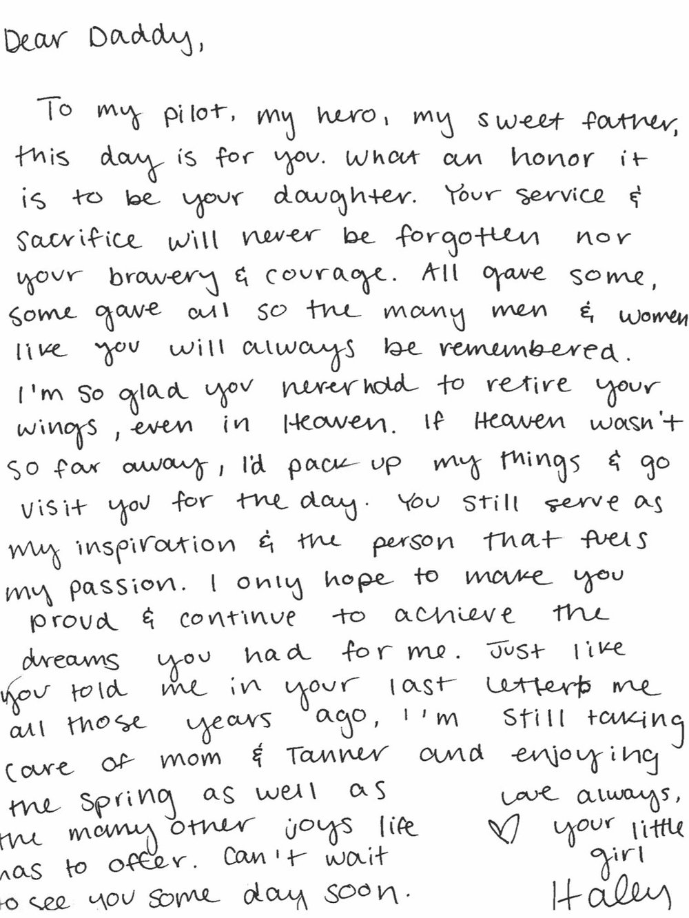 Letter written by Haley Hartwick to her father, who was killed in Iraq in 2006.