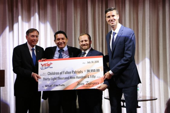 Pictured in the photo from left to right: General David H. Petraeus; YBC President and CEO Tom Tsivgas, Fallen Patriots Development Officer Chris Petrakos, and Fallen Patriots scholar Daniel Bertolino