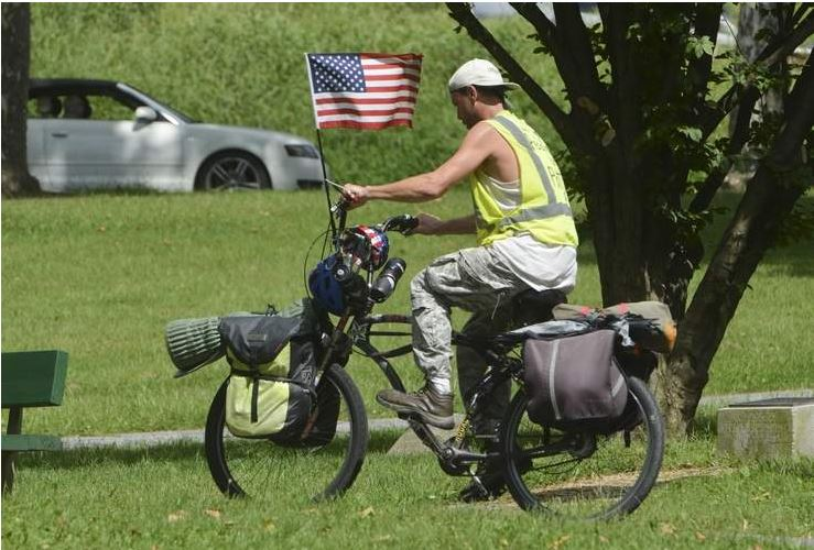 He stopped in City Park on Thursday, near the end of his 3,000-mile ride to raise funds for the Children of Fallen Patriots Foundation.