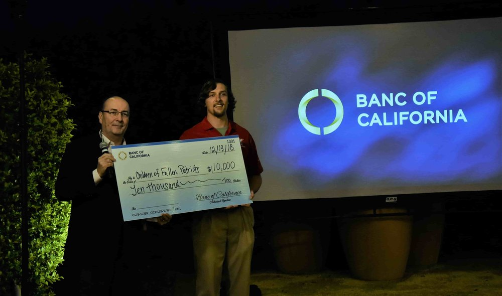 Banc of California CEO Doug Bowers Check Presentation with Fallen Patriots Scholar Asher Patton