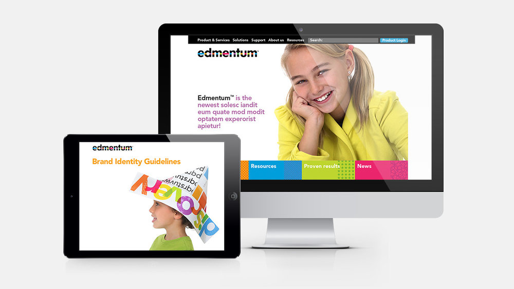 Edmentum website design and identity guidelines shown on a tablet