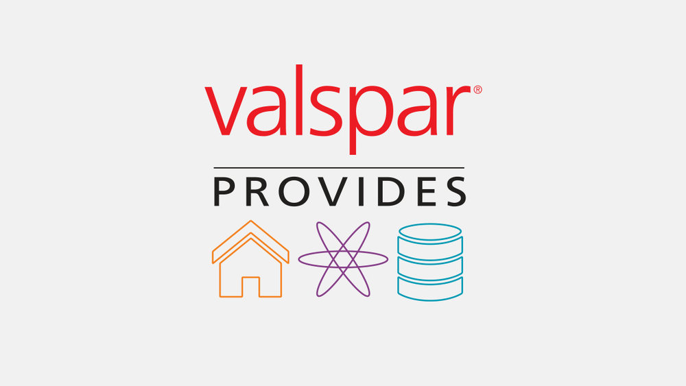 Everybody, focus . The Valspar Provides logo uses graphics that express the three focus areas of the company's giving platform: affordable housing, STEM (science, technology, engineering and math) education and environmental stewardship.