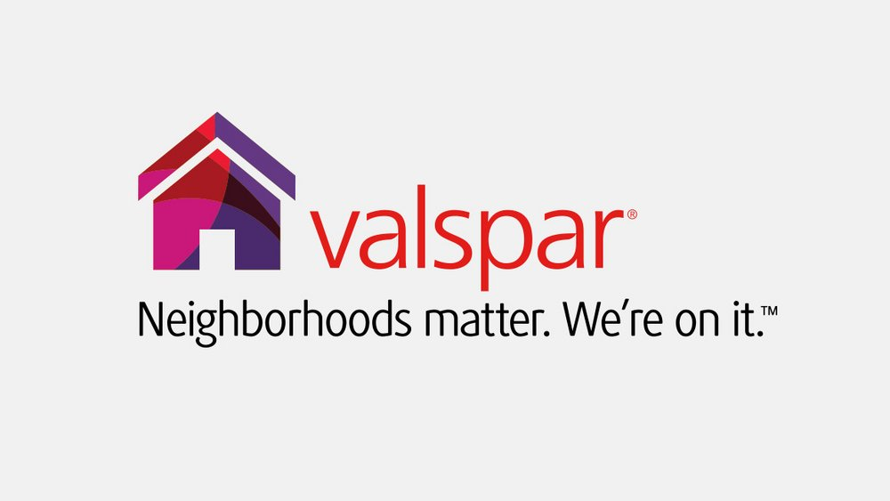 Welcome to the neighborhood . A bright, vibrant house in the National Neighborhood Week logo bridges the connection to Valspar Provides and Habitat for Humanity.
