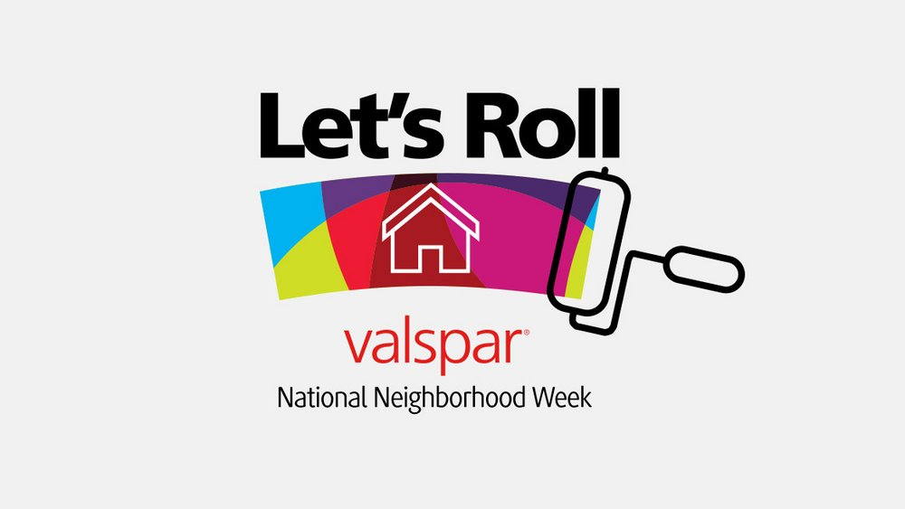 "Bringing it to life. To activate employee volunteer efforts, the ""Let's Roll"" logo uses a house graphic over a swath of color from the Valspar identity."