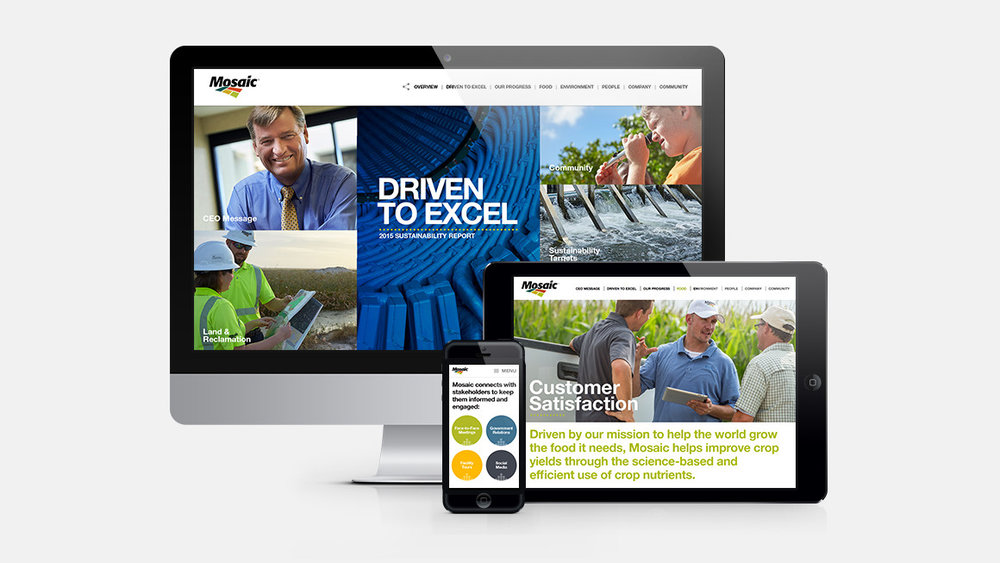 The Mosaic Company Sustainability Report web site shown on desktop and mobile devices