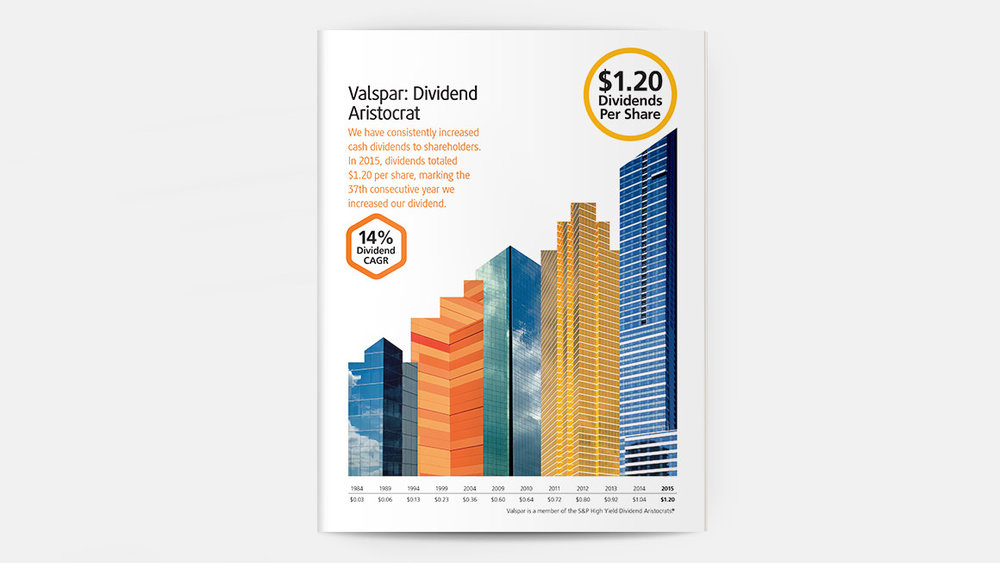 Movin' on up . An upward climb in dividends paid is illustrated using building graphics that depict Valspar-coated surfaces.