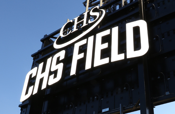 CHS Field logo design and scoreboard signage