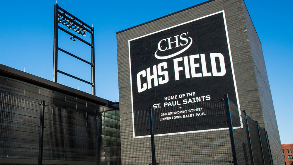 CHS Field logo design on exterior signage