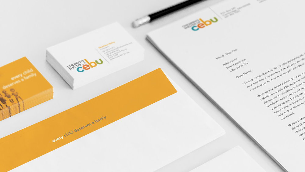 Best regards. A colorful stationery system offers warm greetings and conveys the organization's reason for being.