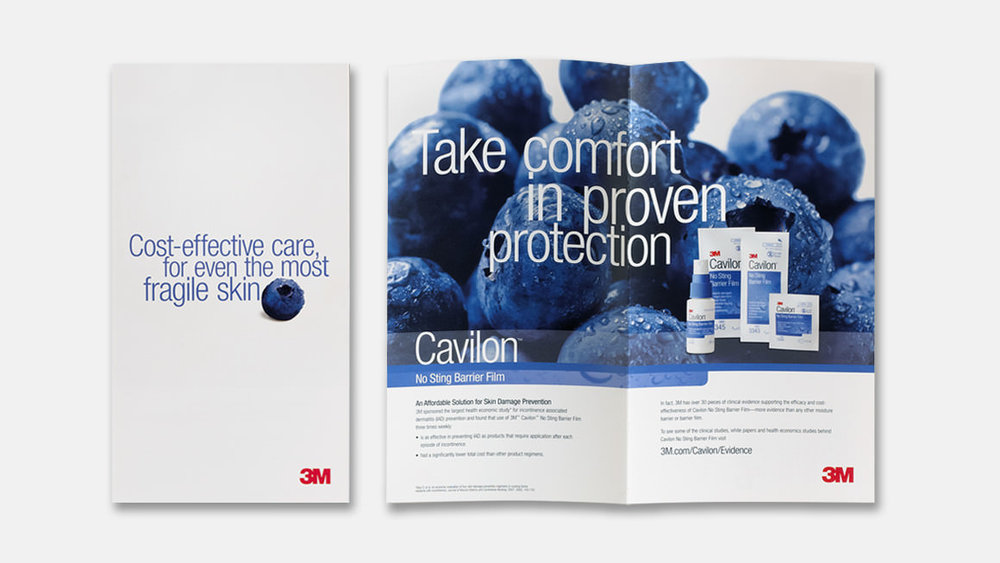 3M™ Cavilon™ No Sting Barrier film brochure cover and inside spread