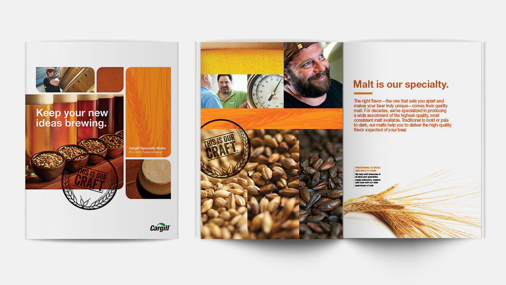 Cargill Specialty Malts catalog cover and inside spread