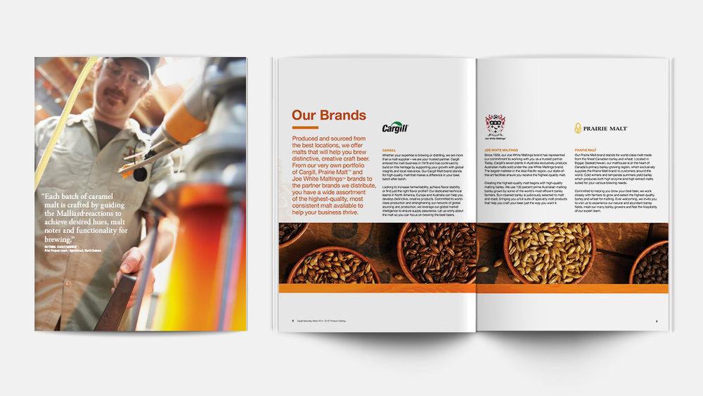 Cargill Specialty Malts catalog divider page inside spread