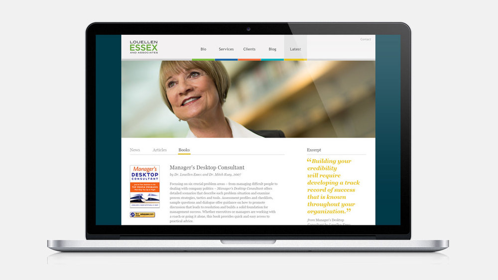 Louellen Essex and Associates' responsive web site design shown on a laptop