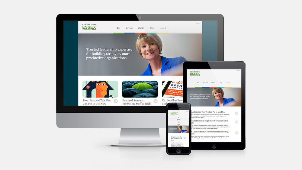 Louellen Essex and Associates' responsive web site design shown on a desktop, tablet and smart phone