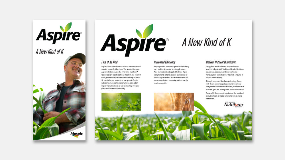 Aspire trifold brochure cover and inside spread