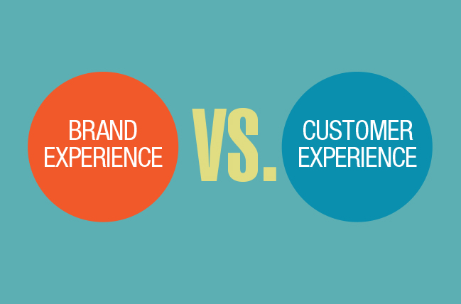 "Graphic saying ""Brand Experience"" versus ""Customer Experience"""