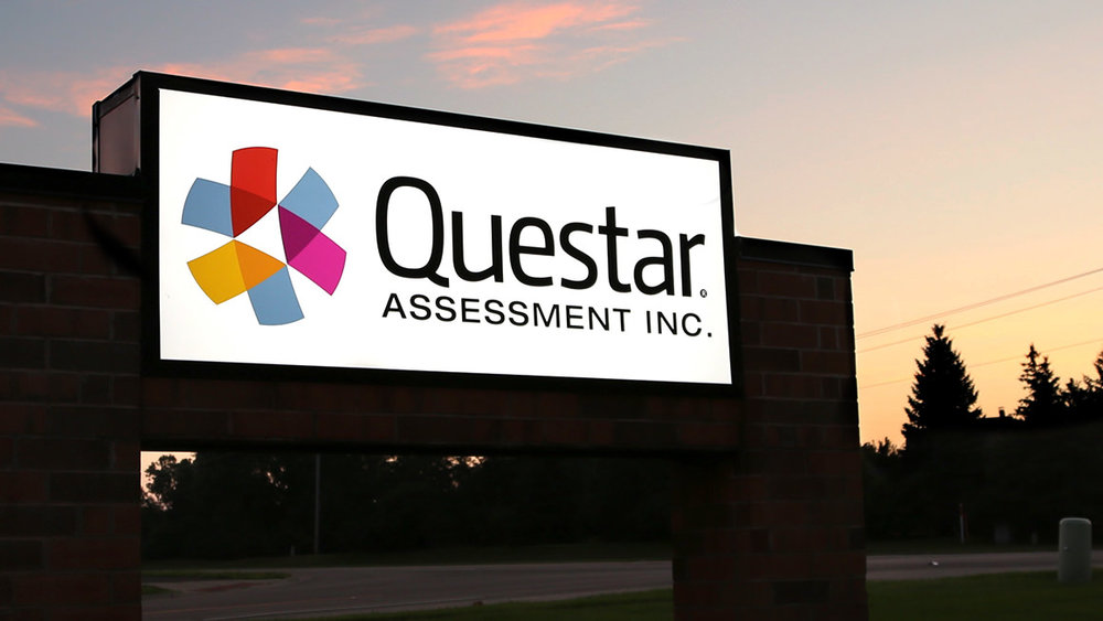Questar corporate headquarters exterior sign