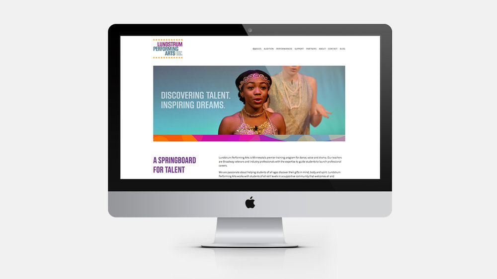Supporting cast . Graphics woven throughout the website support key visuals and content that show Lundstrum Performing Arts is the place for creative expression.