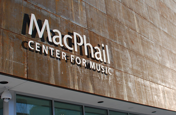 MacPhail logo design applied to building signage