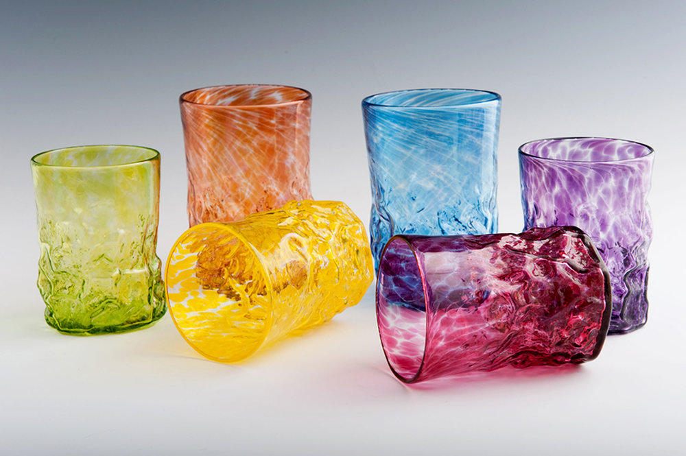 Rocks Tumblers seen here in Lime, Orange, Yellow, Blue, Red, and Purple (left to right).