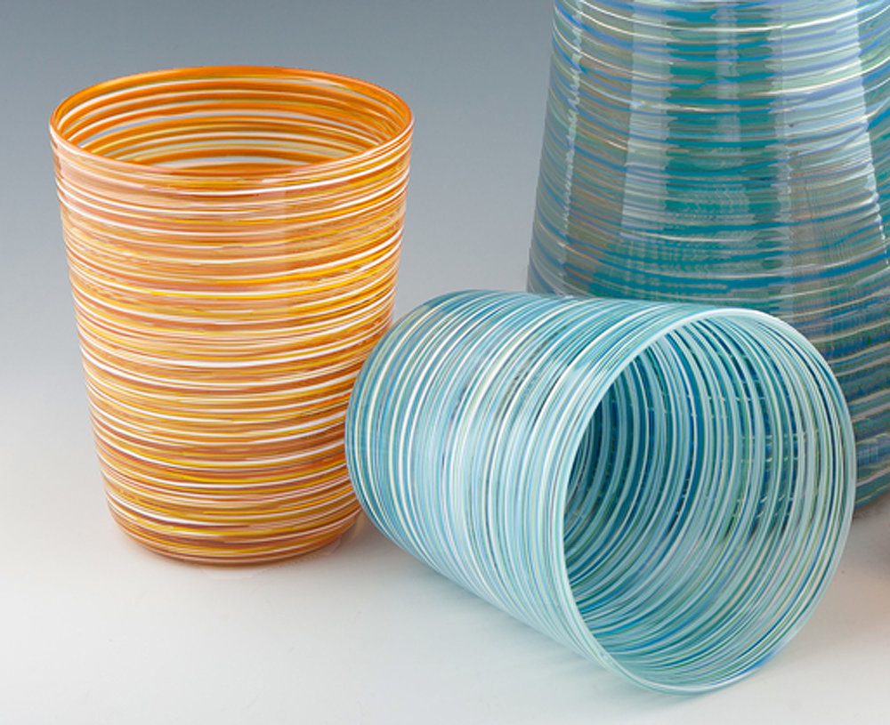 Hoops Tumblers, seen here in Sand Stripe and Sea Stripe.