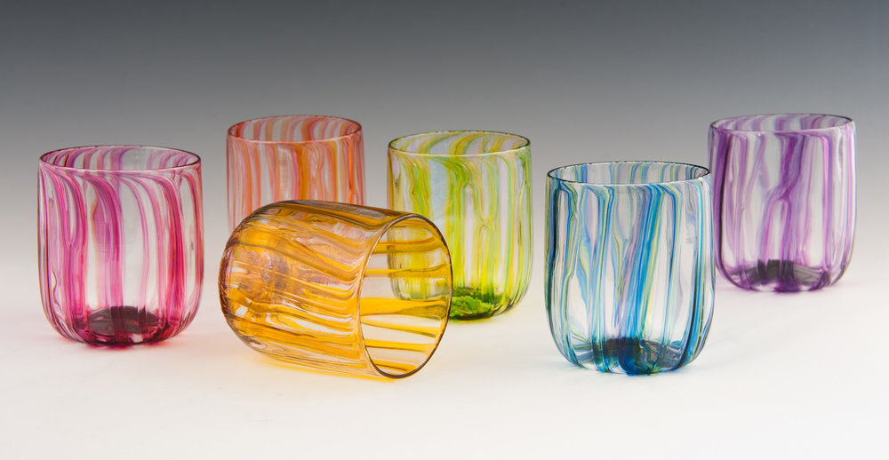 River Tumblers, seen here in Red, Peach, Gold, Lime, Blue, and Purple Ribbons (left to right).