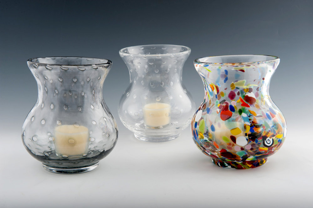 Bubble Votive seen here in Smoke, Clear, and Clown Pattern (left to right).