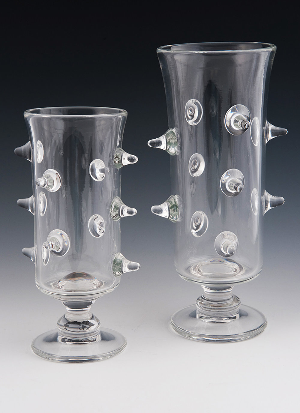 "Prunted Vases, clear vases with ""prunts"" coming off the sides."